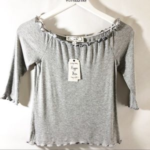 3/$10 Hippie Rose Cropped Gray Top sz M NWT